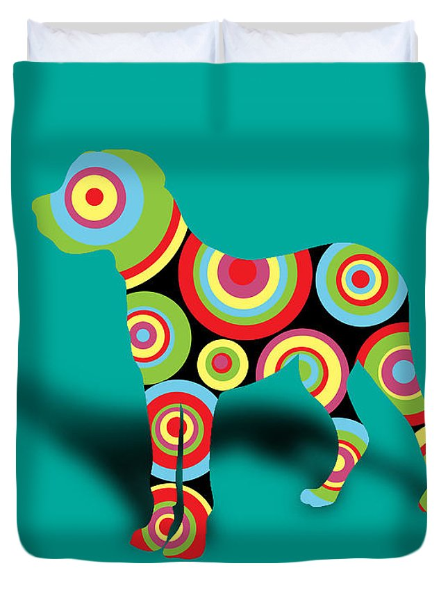 Dog Duvet Cover featuring the digital art Boxer by Mark Ashkenazi