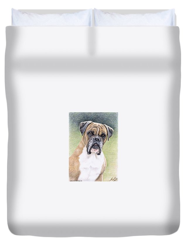 Dog Duvet Cover featuring the drawing Boxer Portrait by Nicole Zeug