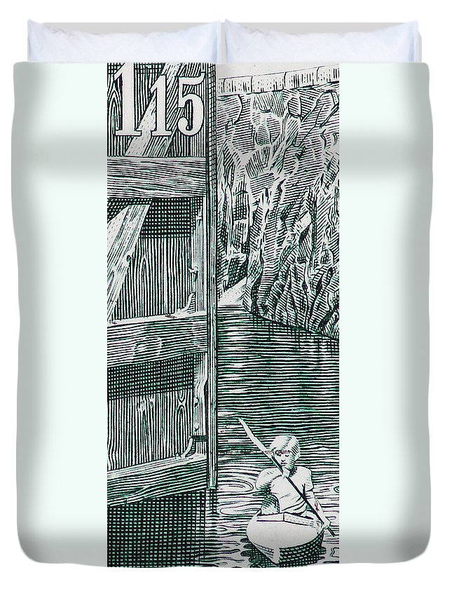 Canoo Duvet Cover featuring the photograph Boy In Canoo In Canal by Andy Prendy