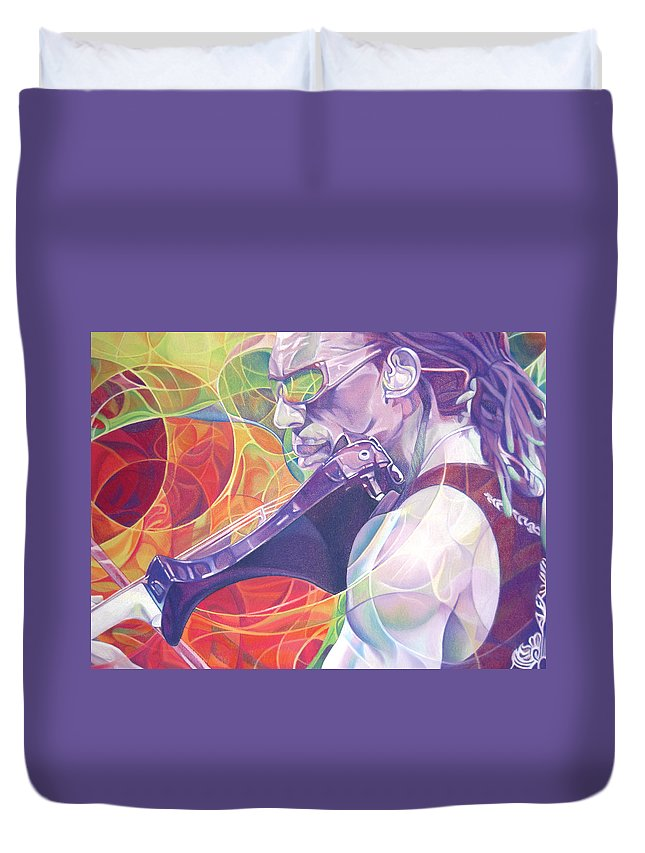 Boyd Tinsley Duvet Cover featuring the drawing Boyd Tinsley And Circles by Joshua Morton