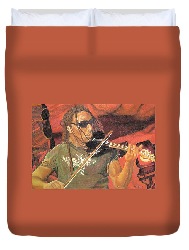Boyd Tinsley Duvet Cover featuring the drawing Boyd Tinsley At Red Rocks by Joshua Morton