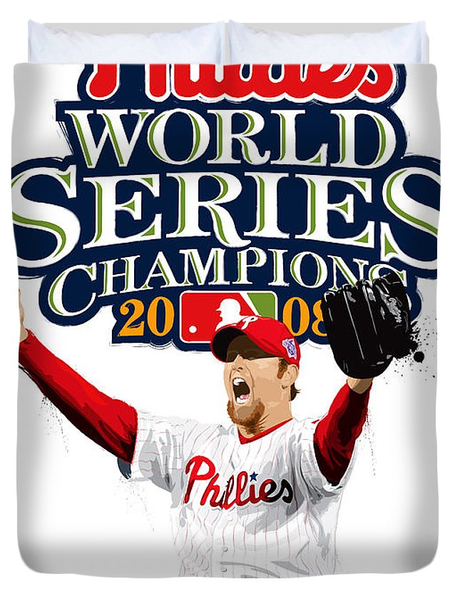 Brad Lidge Duvet Cover featuring the digital art Brad Lidge Ws Champs Logo by Scott Weigner