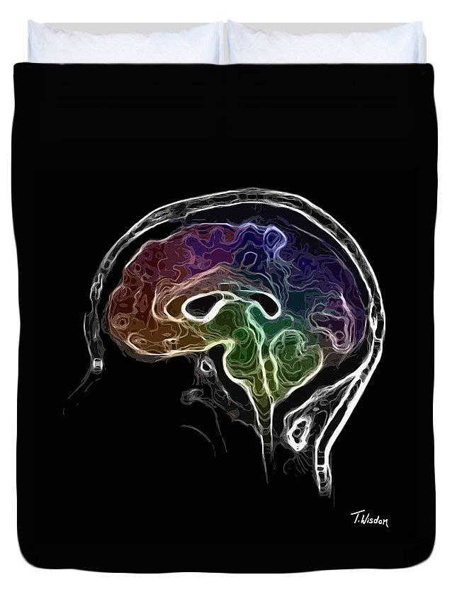 Brain Duvet Cover featuring the digital art Brain And Mind by Tylir Wisdom
