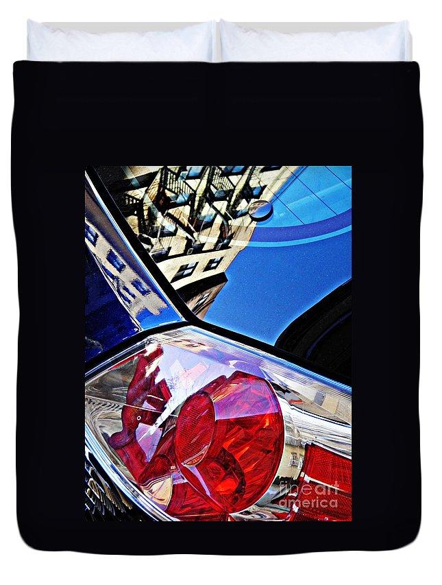 Glass Duvet Cover featuring the photograph Brake Light 50 by Sarah Loft