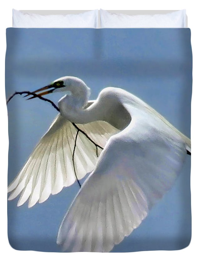 Egret Duvet Cover featuring the photograph Branch Of Peace by Jennie Breeze