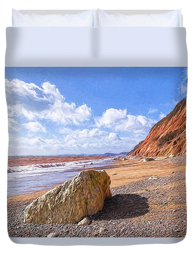 Branscombe Duvet Cover featuring the photograph Branscombe Beach - Impressions by Susie Peek