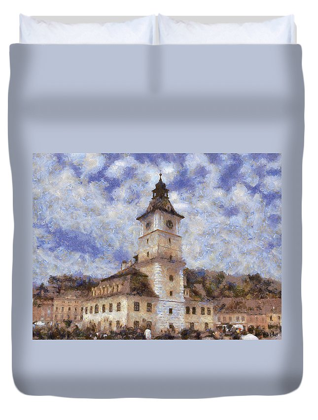 Architecture Duvet Cover featuring the painting Brasov City Hall by Jeffrey Kolker