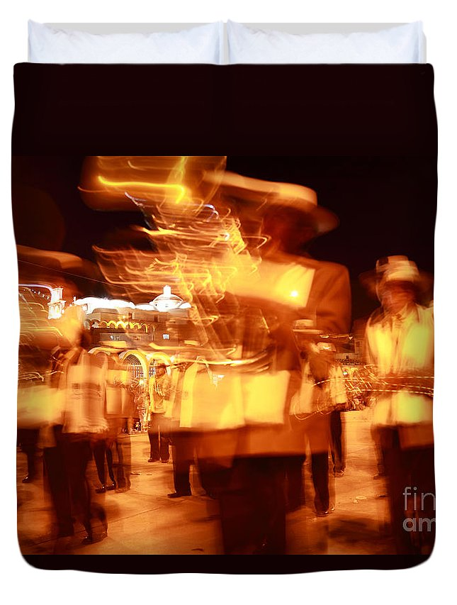 Brass Band Duvet Cover featuring the photograph Brass Band At Night by James Brunker