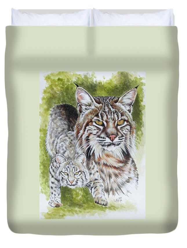 Small Cat Duvet Cover featuring the mixed media Brassy by Barbara Keith
