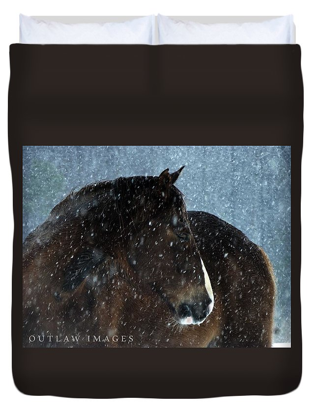 Horse Duvet Cover featuring the photograph Braving The Blizzard by Holly Dwyer