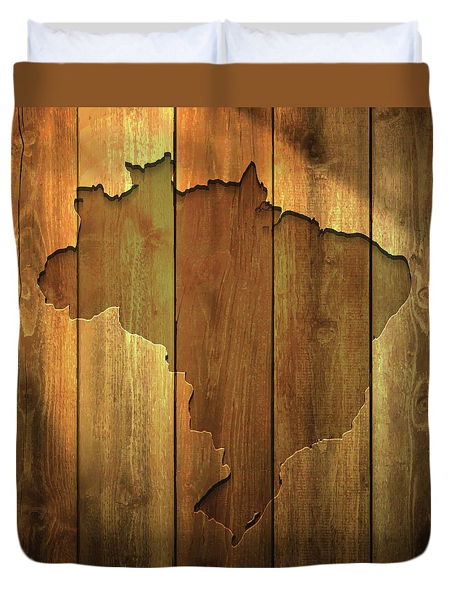 Material Duvet Cover featuring the digital art Brazil Map On Lit Wooden Background by Bgblue