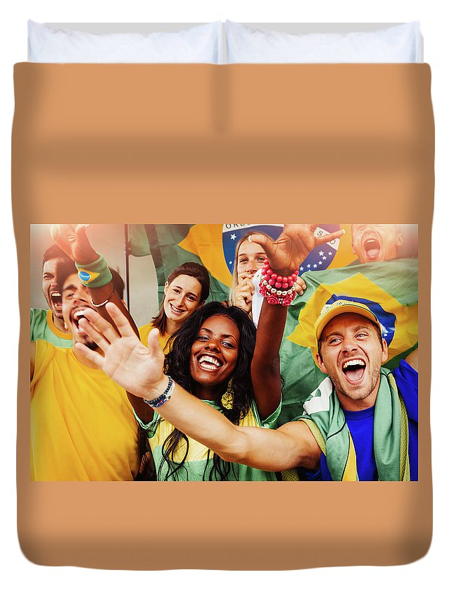 Atmosphere Duvet Cover featuring the photograph Brazilian Fans At Stadium by Filippobacci