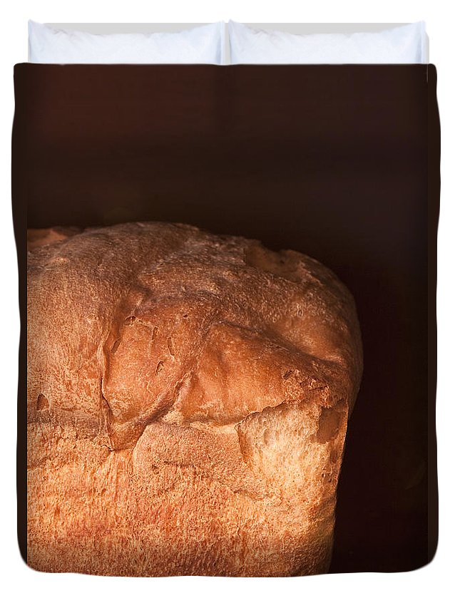 Food; Grain; Bread; Baked; Oven; Brown; Dark; Loaf; Still Life; Fluffy; Flaky Duvet Cover featuring the photograph Bread by Margie Hurwich