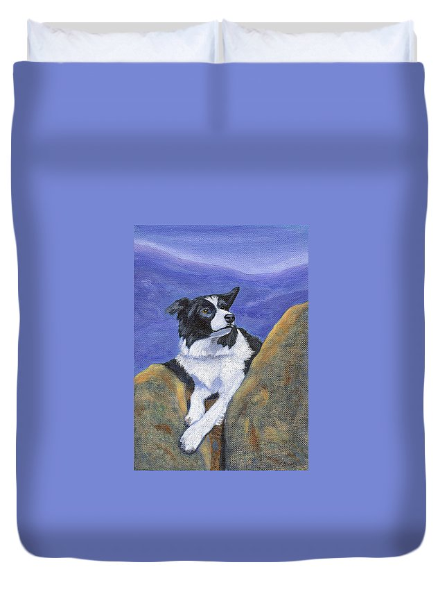 Breagh Duvet Cover featuring the painting Breagh Lass by Fran Brooks