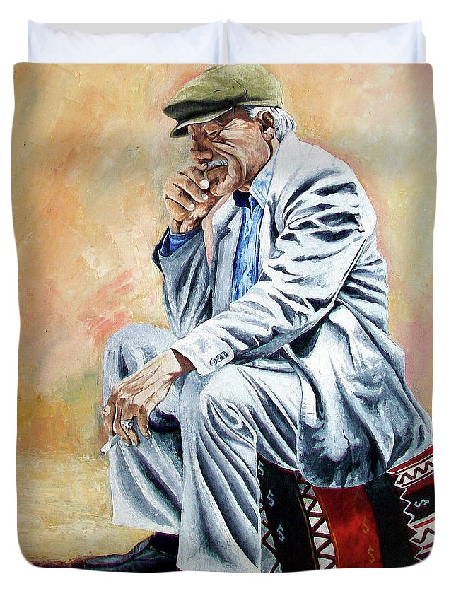 Figurative Duvet Cover featuring the painting Break For Smoking - Apeadero Para Fumar by Rezzan Erguvan-Onal