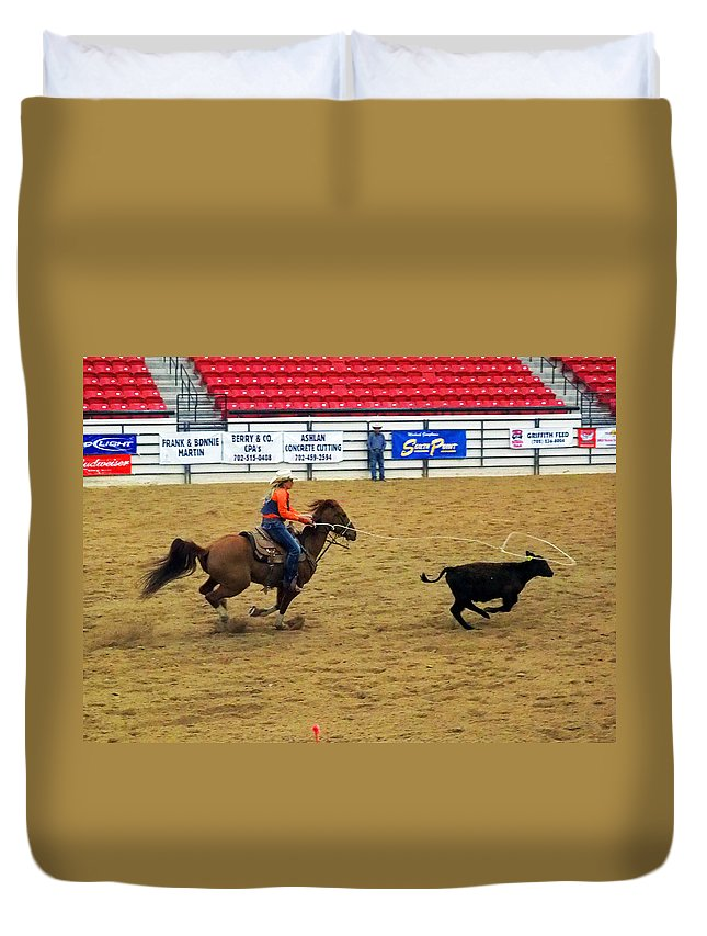 Cowgirl Duvet Cover featuring the photograph Breakaway Roping by C H Apperson