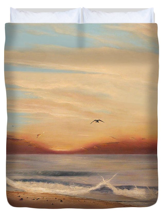Sunrise Duvet Cover featuring the painting Breakfast At Five Thirty by Albert Puskaric
