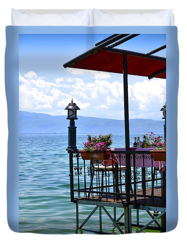 View Duvet Cover featuring the photograph Breakfast For Two by Sotiris Filippou