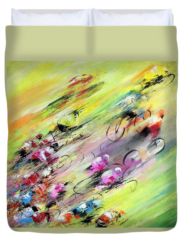 Sports Duvet Cover featuring the painting Breaking Away by Miki De Goodaboom