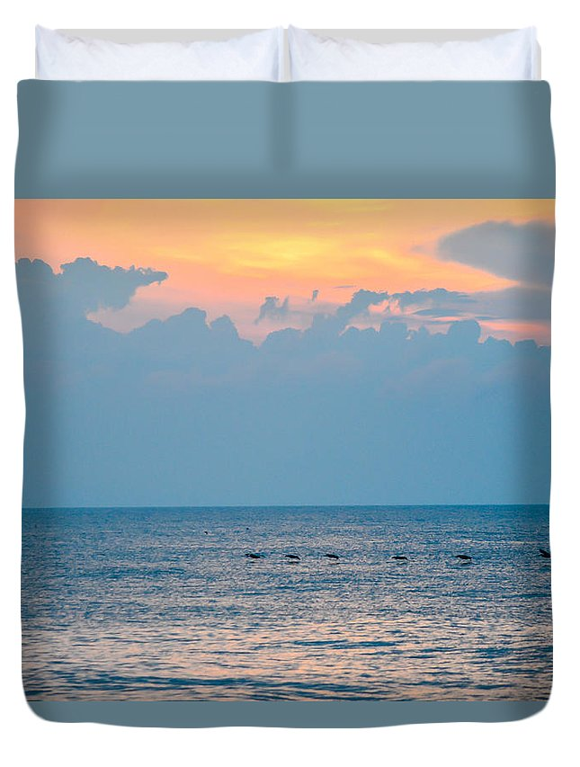 Beach Cottage Life Duvet Cover featuring the photograph Breaking Blue by Mary Hahn Ward