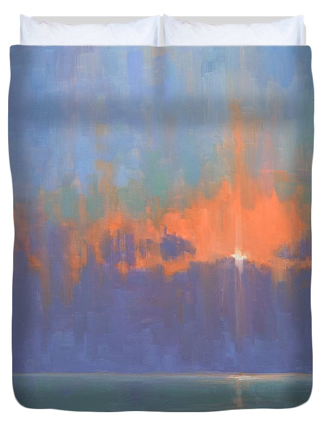 Sky Duvet Cover featuring the painting Breaking Sky I by Timon Sloane