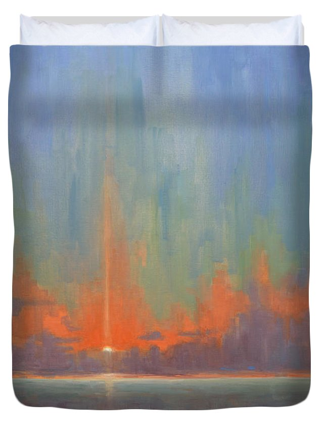 Sea Duvet Cover featuring the painting Breaking Sky II by Timon Sloane