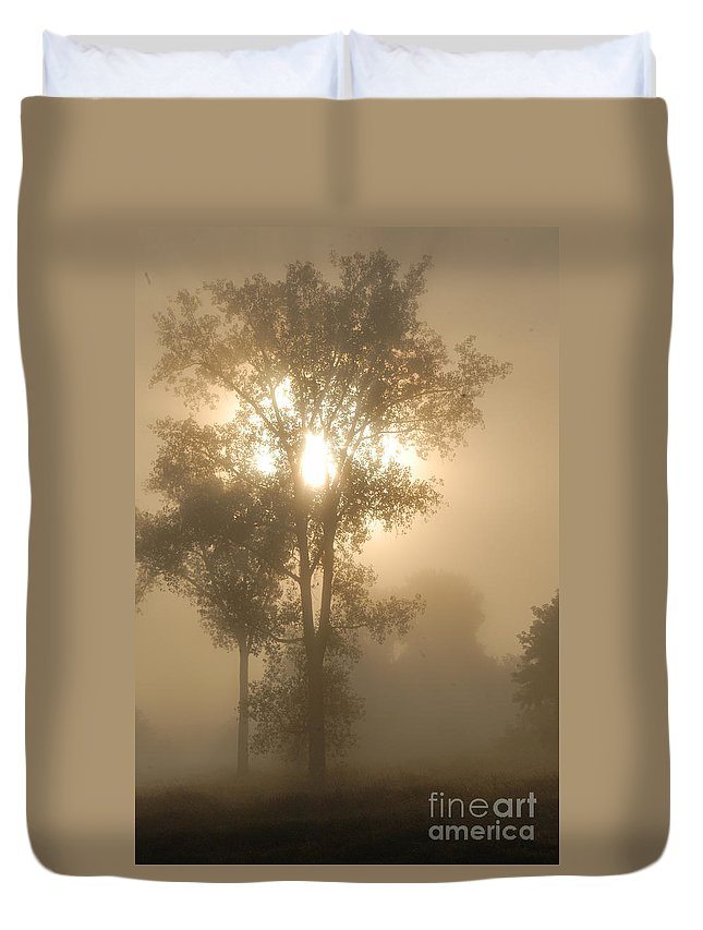 Photography Duvet Cover featuring the photograph Breaking Through The Fog by Larry Ricker