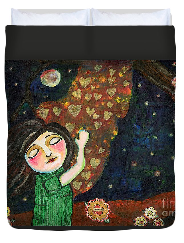 Woman Duvet Cover featuring the painting Breathe In Love by AnaLisa Rutstein