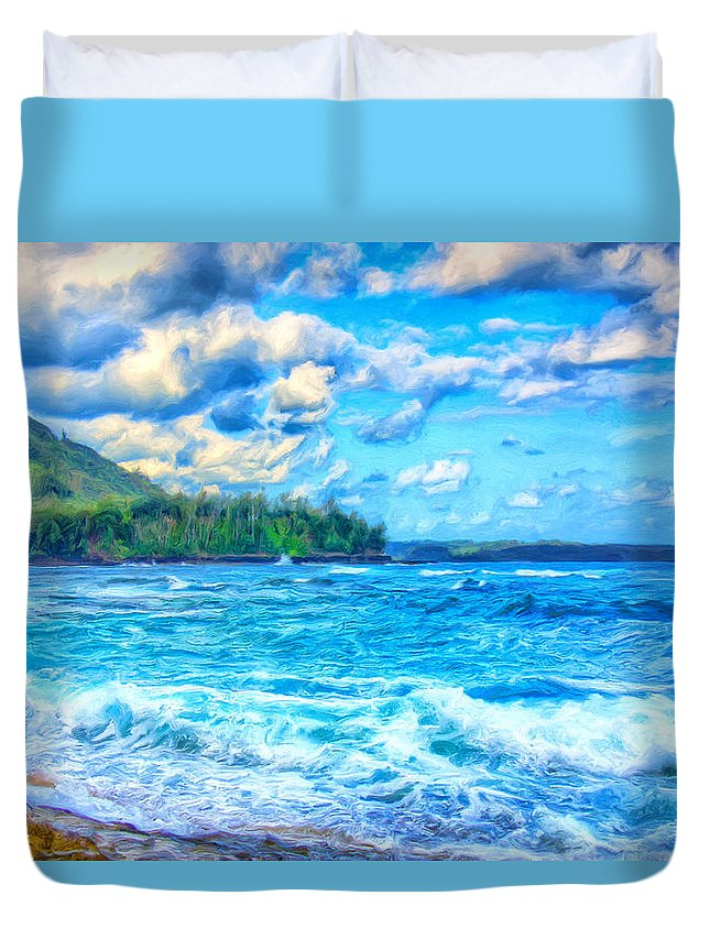 Breezy Duvet Cover featuring the painting Breezy Hawaii Morning by Dominic Piperata