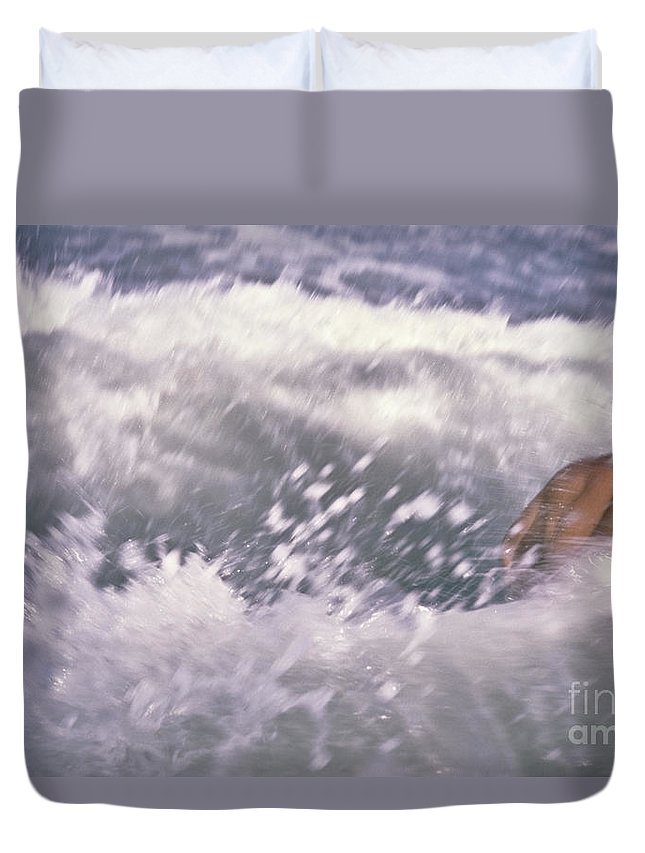 Brian Duvet Cover featuring the photograph Brian Swimming In The Sea by Bruce Stanfield