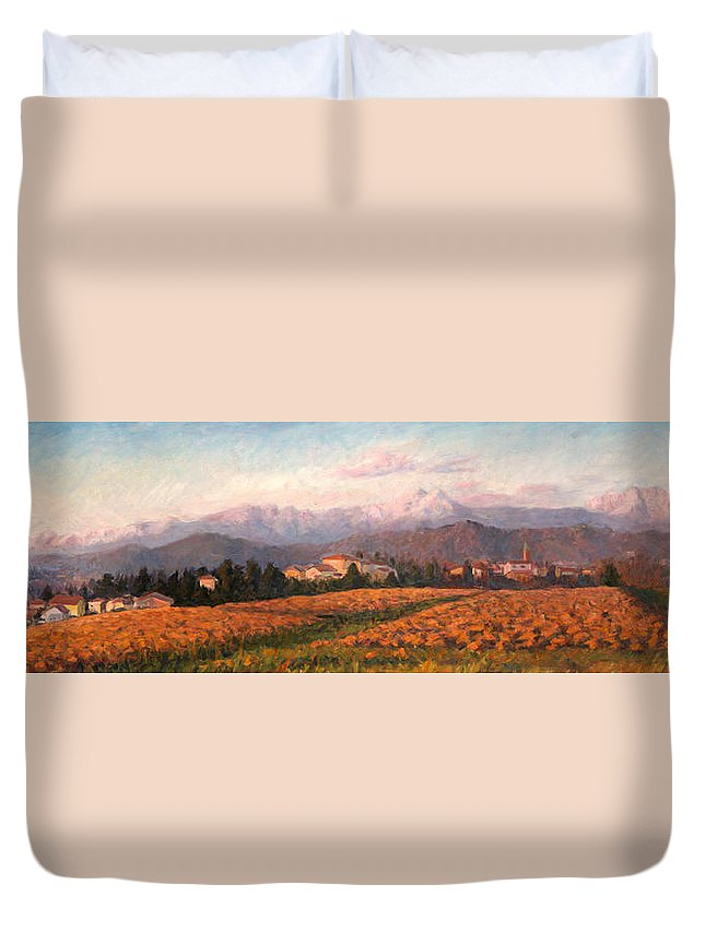 Field Duvet Cover featuring the painting Brianza Horizon by Marco Busoni