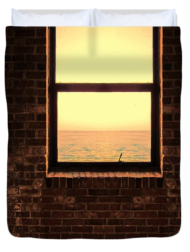 Window Duvet Cover featuring the photograph Brick Window Sea View by Jill Battaglia