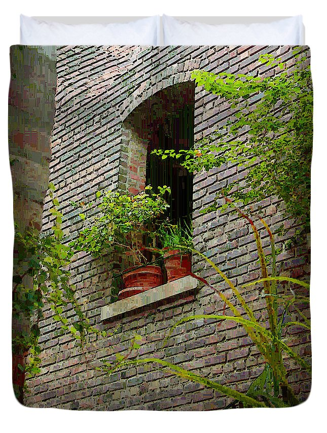 Window Duvet Cover featuring the painting Brick With Greenery by RC DeWinter