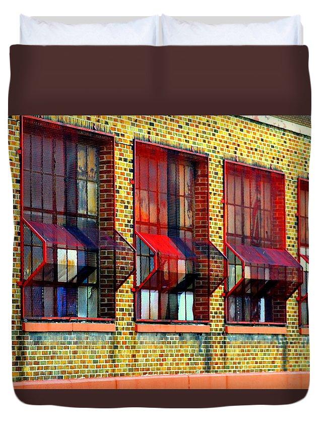 Bricks Duvet Cover featuring the photograph Bricks by Kathy Barney