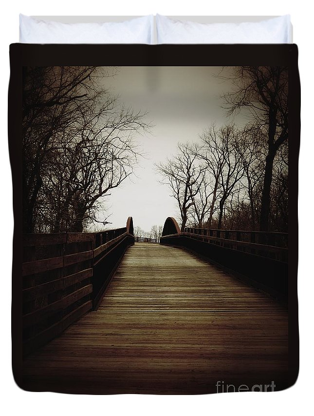 Path Duvet Cover featuring the photograph Bridge Ahead by K L Roberts