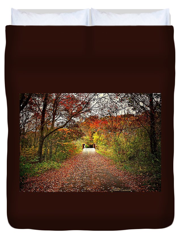 Landscape Duvet Cover featuring the photograph Bridge Ahead by Mikki Cucuzzo