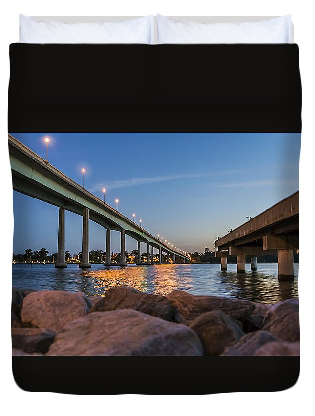 2d Duvet Cover featuring the photograph Bridge And Fishing Pier by Brian Wallace