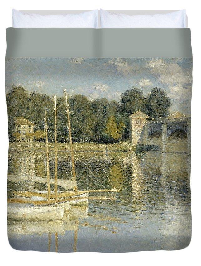 Bridge At Argenteuil Duvet Cover featuring the digital art Bridge At Argenteuil by Georgia Fowler