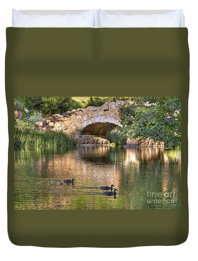 Kate Brown Duvet Cover featuring the photograph Bridge At Stow Lake by Kate Brown