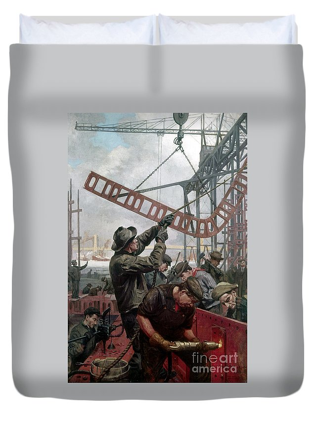 1909 Duvet Cover featuring the painting Bridge Construction 1909 by Granger