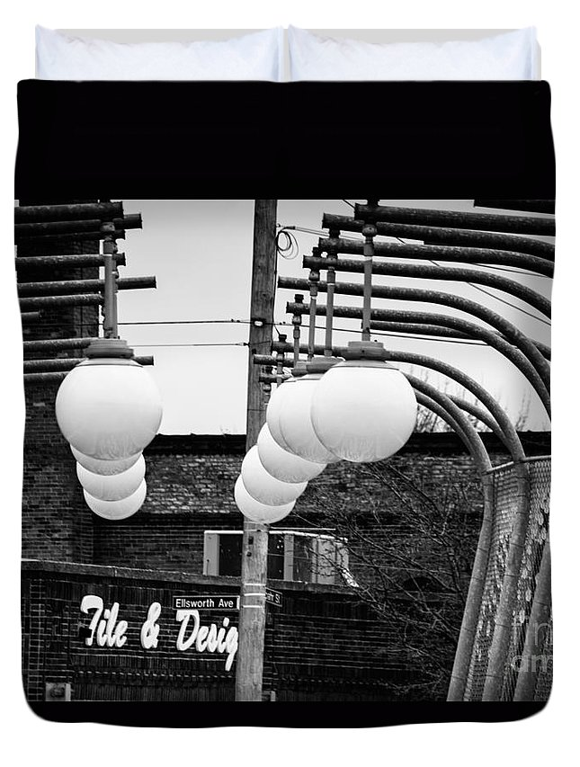 Black And White Duvet Cover featuring the photograph Bridge Globes by Jay Ressler