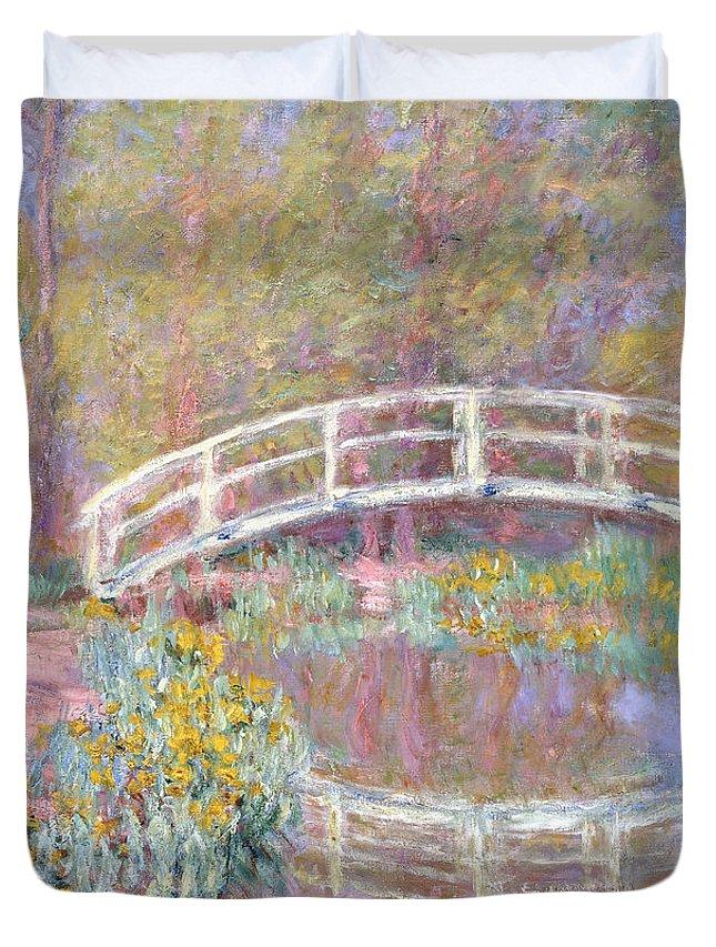 Monet Duvet Cover featuring the painting Bridge in Monet's Garden by Claude Monet