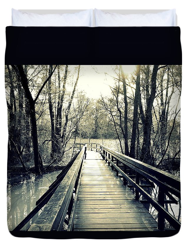 Bridge Duvet Cover featuring the photograph Bridge In The Wood by Valentino Visentini
