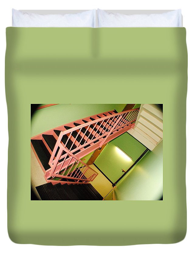 Bridge Duvet Cover featuring the photograph Bridge Of Stairs by Frozen in Time Fine Art Photography