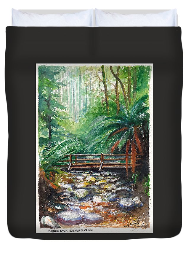 Rainforest Duvet Cover featuring the painting Bridge Over Badger Creek by Dai Wynn