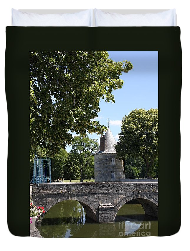 Bridge Duvet Cover featuring the photograph Bridge Over Chateau Moat by Christiane Schulze Art And Photography