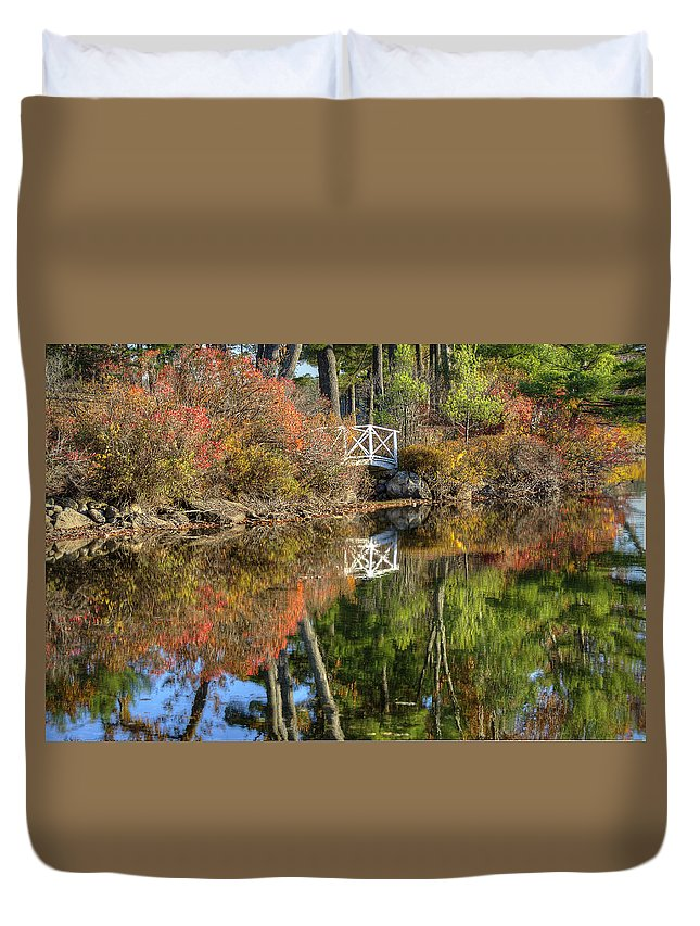 Fall Duvet Cover featuring the photograph Bridge Over Fall Waters by Donna Doherty