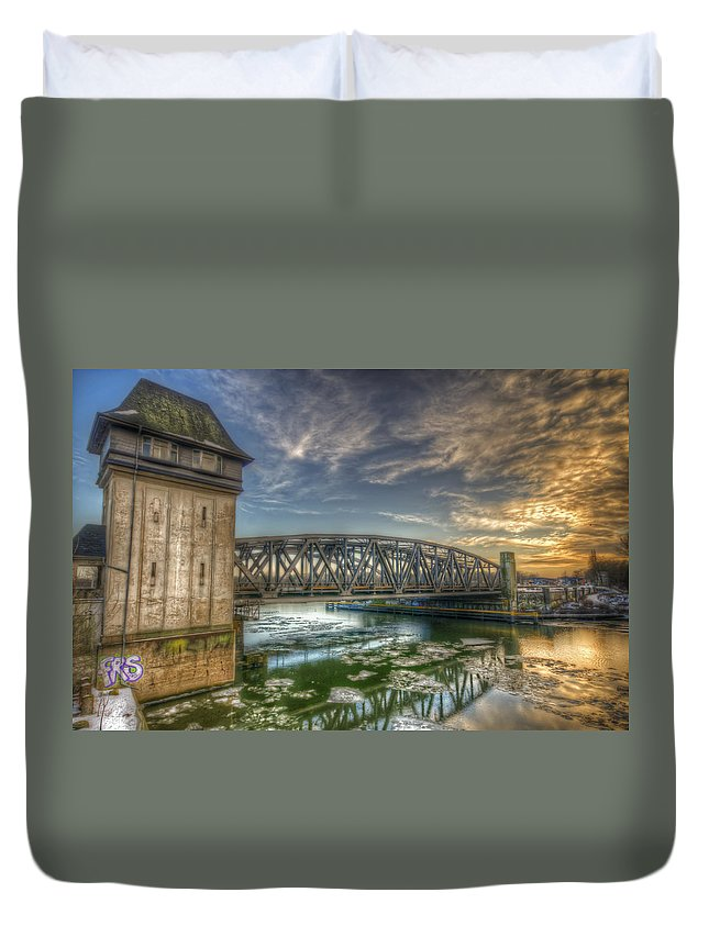 Architecture Duvet Cover featuring the digital art Bridge Over Icey Waters by Nathan Wright