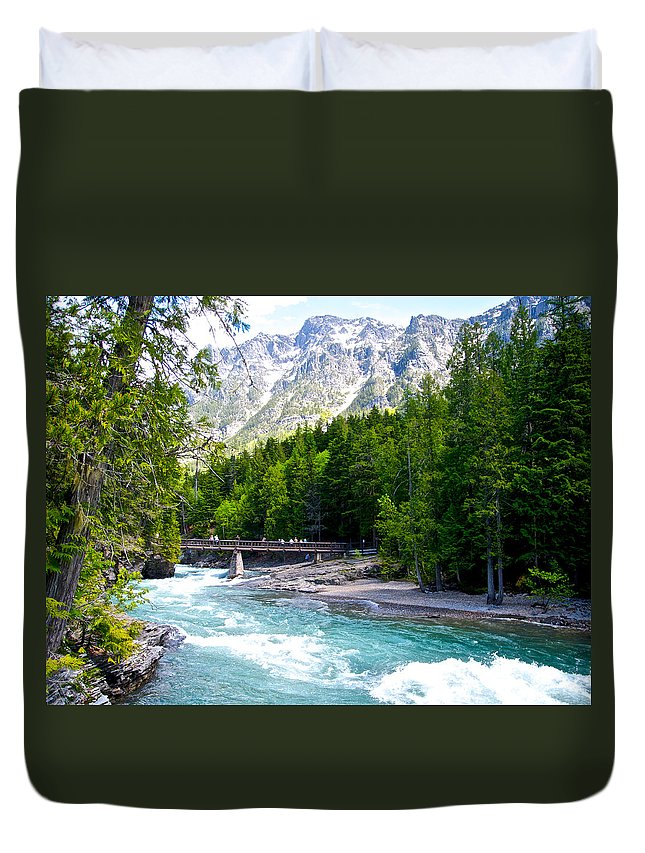 Bridge Over Mcdonald Creek Duvet Cover featuring the photograph Bridge Over Mcdonald Creek In Glacier Np-mt by Ruth Hager