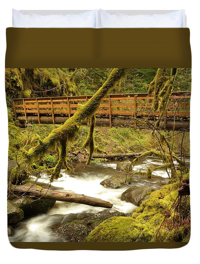 Water Duvet Cover featuring the photograph Bridge Over Paradise by Jeff Swan